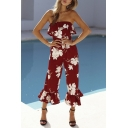 Summer Chic Burgundy Floral Printed Off the Shoulder Ruffled Cuff Jumpsuits