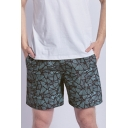 Stylish Green Check Printed Mens Summer Surfing Swim Trunks with Liner