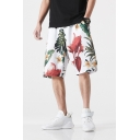 Guys New Trendy Floral Printed Quick Drying Loose Fit Beach Swim Trunks