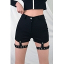 Girls Cool Punk Gothic Style Sexy Hollow Out Eyelet Straps Black Garter Shorts