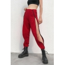 Summer Street Fashion Cool Zipper Closure Slit Side Solid Color Dance Track Pants for Girls