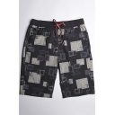 Guys Unique Geometric Printed Drawstring Waist Sport Loose Black Swim Trunks