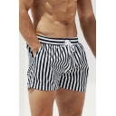 Summer Stylish Blue Striped Printed Drawstring Waist Beach Swim Shorts with Liner