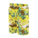 Summer Trendy Yellow Tropical Coconut Palm Printed Beach Swim Shorts with Lining
