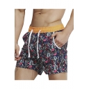 Men's Summer Red Leaf Printed Drawstring Waist Beach Shorts Swim Shorts