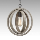 Wood Gyroscope Shade Ceiling Light 1 Light Rustic Style Pendant Light for Kitchen Dining Room