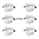 (6 Pack)Angle Adjustable LED Spot Light White/Black Drum Shape Slim Panel Down Light for Bedroom in White/Warm