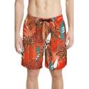 Mens Fashion Swim Trunks Plant Tropical Print Bathing Shorts with Drawcord