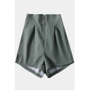 Army Green Fashion High Rise Elastic Waist Zipper Fly Wide-Leg Shorts for Women