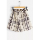 Unique Check Stripe Pattern Drawcord Waist Casual Loose Paperbag Shorts