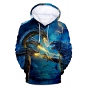 King of the Monsters Blue 3D Printed Unisex Sport Loose Hoodie