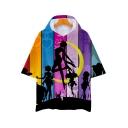 New Stylish Colorblock Striped Comic Girl Sailor Moon Short Sleeve Hooded Unisex T-Shirt