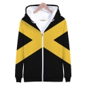 Cool Letter X Colorblock Long Sleeve Zip Up Black Loose Fit Hoodie