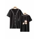 Hot Popular Cartoon Figure Printed V-Neck Short Sleeve Button Down Baseball Shirt