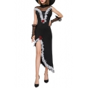 New Fancy Black Halloween Witch Cosplay Costume Tassel Hem Maxi Asymmetrical Dress with Hat