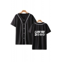 Summer Hot Fashion Letter I Love You 3000 Unisex Short Sleeve Button Down Baseball Shirt