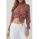 Summer Chic Floral Printed Ruffled Stand Collar Long Sleeve Tied Hem Cropped Chiffon Red Blouse Top