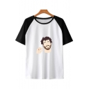 New Fancy Funny Figure Print Round Neck Colorblock Short Sleeve Unisex T-Shirt
