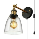 Plug In Bell Shade Sconce Light 1 Light Industrial Metal and Glass Wall Lamp for Kitchen Stair
