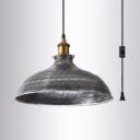 Metal Domed Shape Ceiling Light Living Room Restaurant 1 Light Antique Style Plug In Hanging Light in Galvanized Steel