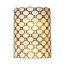 Living Room Cylinder Shade Wall Light Glass Tiffany Style White Sconce Wall Lamp