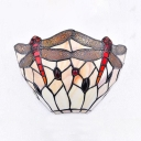 Glass Dragonfly Pattern Wall Light Dinging Room Tiffany Style Rustic Wall Sconce with Multi Color
