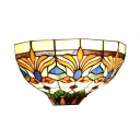 Tiffany Style Plant Pattern Wall Lamp Stained Glass One Light Wall Light for Bedroom Bathroom
