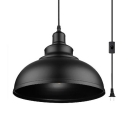 Metal Domed Shade Pendant Light 1 Light Industrial Plug In Hanging Light in Black for Bar Study