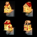 On-Off Switch Night Light 3 House Shape Choice Cute Ceramics Wall Light for Kids Room Stair