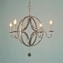 Vintage Style Globe Shape Chandelier Light 4 Lights Metal Ceiling Light for Living Room Dining Room