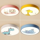 White Lighting/Stepless Dimming Light Fixture Kindergarten 4 Cute Animal Pattern Ceiling Mount Light