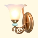 Metal Frosted Glass Wall Sconce with Flower Shade 1/2 Lights Elegant Style Wall Light for Bedroom Hotel