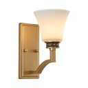 Vintage Style Curved Shade Sconce Light Metal Glass Single Light Gold Wall Lamp for Hotel Restaurant
