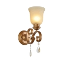 Hotel Restaurant Bell Shade Sconce Light Metal Glass Single Light Wall Sconce with Crystal Decoration
