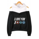 Unique Funny Letter I Love You 3000 Fake Two-Piece Cold Shoulder Long Sleeve Pullover Hoodie