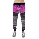 New Trendy Bar Code Letter 3D Printed Hip-hop Drawstring Waist Slim Jogger Sweatpants
