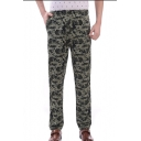Men's New Stylish Camouflage Printed Elastic Casual Straight-leg Pants