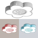 Blue/Pink/Gray Flower Ceiling Light Cute Acrylic Ceiling Mount Light with White Lighting for Child Room