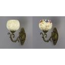 Living Room Shop Sconce Light 1 Light Glass Wall Light in White/Multi Color