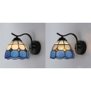 1 Light Dome Sconce Tiffany Style Stained Glass Hanging Wall Light for Hotel Restaurant