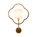 Simple White Drum Shade Wall Sconce 1 Light Metal and Fabric Wall Light for Bedroom Hotel Study