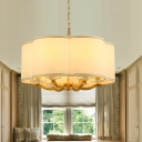 Traditional Style White Shade Chandelier 6 Lights Fabric Metal Hanging Light for Dining Room Bedroom