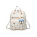 Trendy Plain Bear Pendant Big School Bag Bookbag Backpack 27*13*30 CM