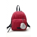 Fashion Solid Color Mini Corduroy Shoulder Bag Backpack for Women 18*10*20 CM