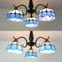 Dome Bedroom Semi Flush Mount Light Glass 3 Lights Antique Style Ceiling Light in Clear/White