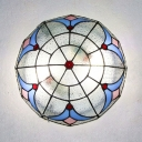 Stained Glass Dome Flush Ceiling Light Tiffany Style Overhead Light for Living Room
