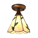 Cone Leaf Ceiling Mount Light 1 Light Rustic Style Glass Overhead Light for Shop Hallway