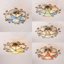 Vintage Style Star Ceiling Light Glass Semi Flush Mount Light for Living Room