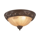 Antique Style Bronze Flush Light Dome 2/3 Lights Fluted Glass Ceiling Fixture for Balcony