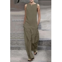 New Trendy Designer Plain Sleeveless Wide Leg Loose Jumpsuits for Women